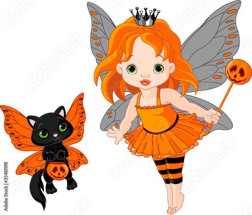 Śliczna Halloweenowa dziecko czarodziejka i kot