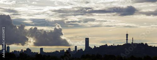Fototapeta premium Sylwetka panoramę Johannesburga.