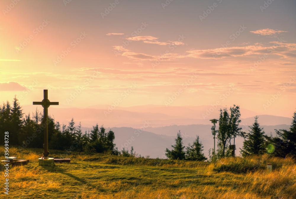 Zachód słońca na górze Wielka Racza