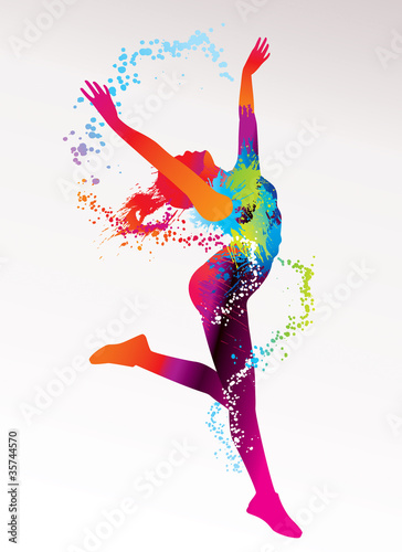 The dancing girl with colorful spots and splashes on a light bac #35744570