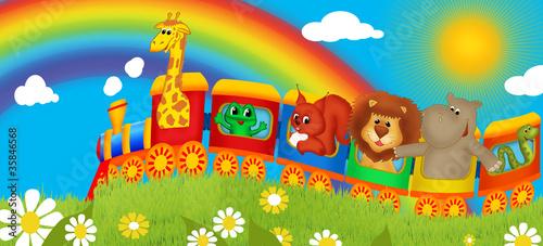 Fototapeta premium Baner dla dzieci - wesoły pociąg