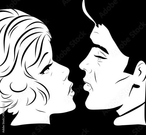 couple amoureux face à face