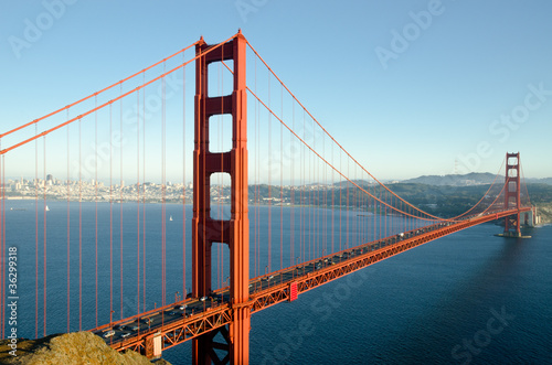 Golden Gate Bridge in San Francisco after sunrise