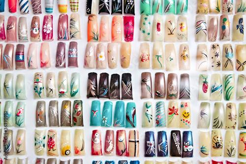 Canvas Print Acrylic fingernails on display