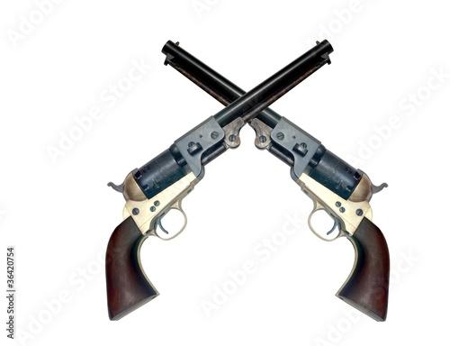 two old metal colt revolver