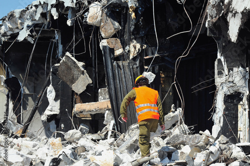 Fotografija Search and Rescue Through Building Rubble after a Disaster
