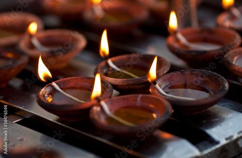 Canvas Print Candles at Shwedagon Paya Pagoda in Yangon, Myanmar