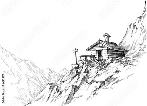 Obraz na płótnie Mountain hut sketch