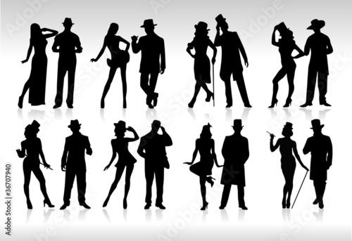 Tablou Canvas silhouettes costumes rétro
