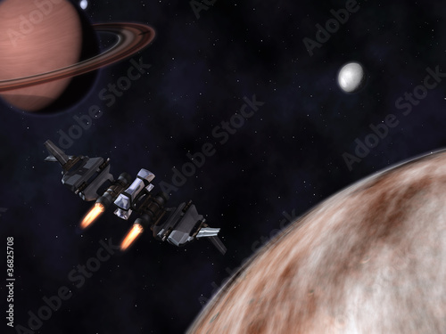 Canvas Print StarFighter in action in space with planets