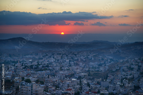 Leinwand Poster Sonnenaufgang in Bethlehem-Stadt in Palästina, Israel