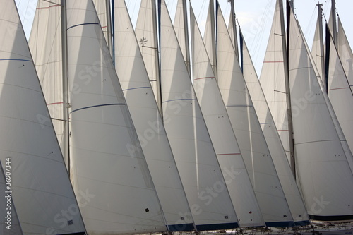 sailing boat Yacht Sails main and genoa with nobody