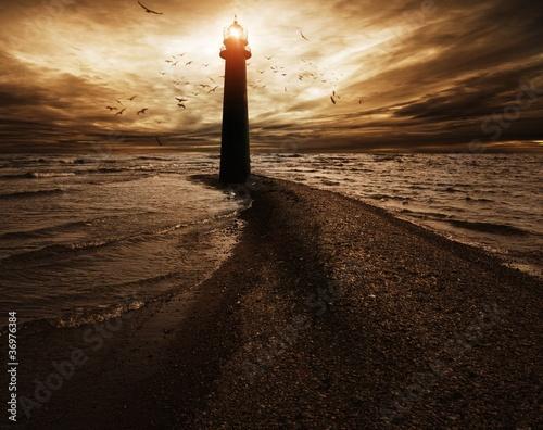 Canvas Print Stormy sky over  lighthouse