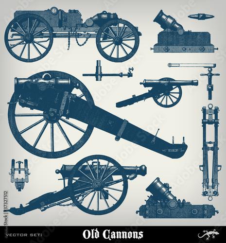 Carta da parati Engraving vintage Cannon set.