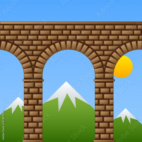 Wallpaper Mural vector ancient stone bridge viaduct aqueduct