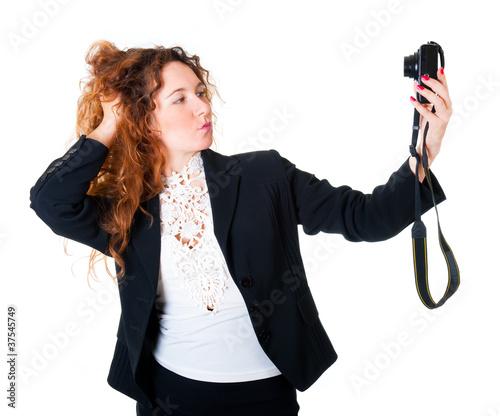 Fotografie, Obraz Young woman makes self-portraits