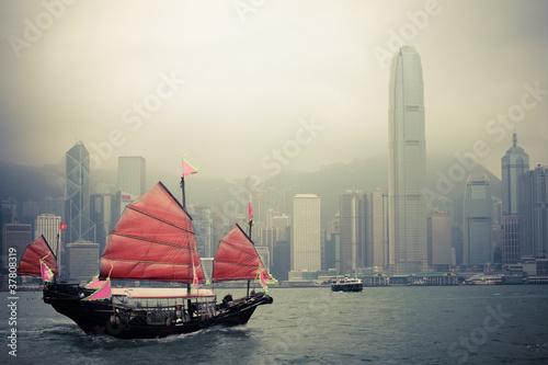Photo chinese style sailboat in Hong Kong