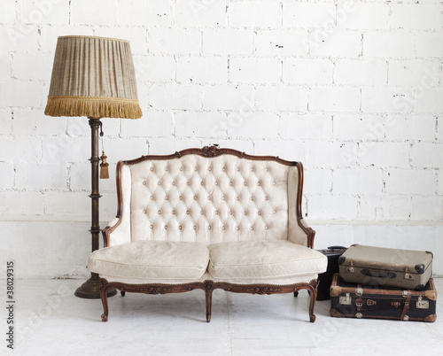 leather sofa in white room #38029315