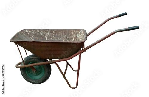 Leinwand Poster old rusty wheelbarrow
