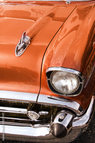 Close up shot of Classic car front end