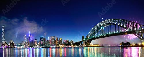 Photo Sydney Harbour NYE Fireworks Panorama