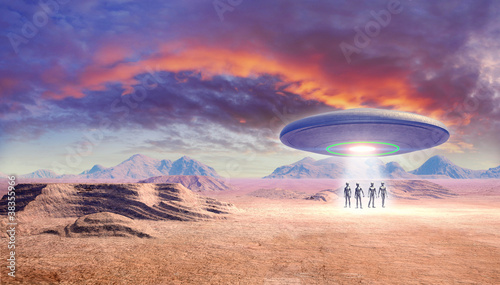 Canvas Print ufo and aliens in the desert