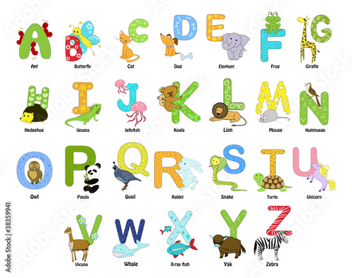 Animal themed alphabet from a to z #38359941