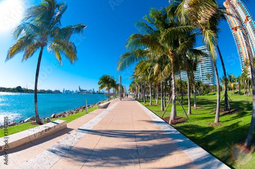 Beautiful park South Pointe in Miami Beach, Florida