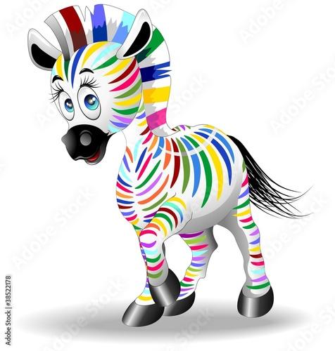 Zebra Cartoon Quadricromia-Four Color Process Zebra-Vector #38522178