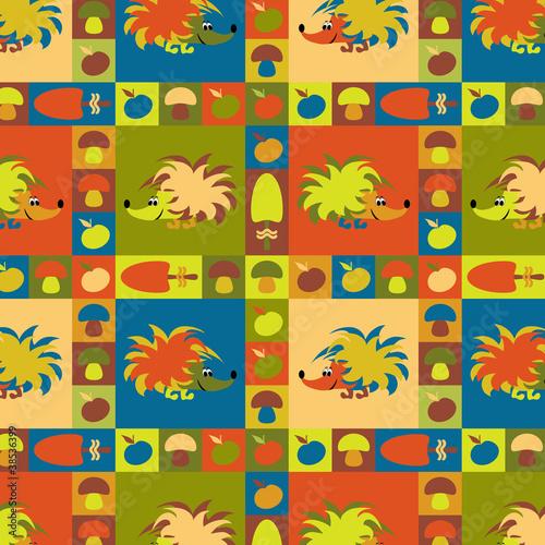 Zabawne kolorowe tło z jeżami, jabłkami i grzybami