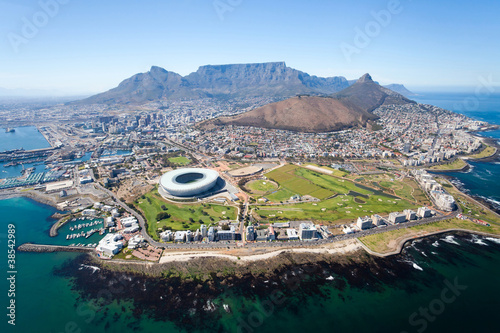 Fototapeta premium ogólny widok z lotu ptaka Kapsztadu, RPA