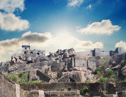 Платно Historic Golkonda fort in Hyderabad city India