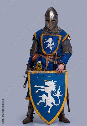 Obraz na płótnie Medieval knight on grey background.