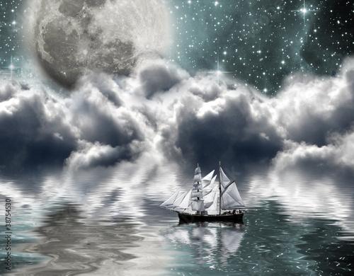 Yacht under the moon