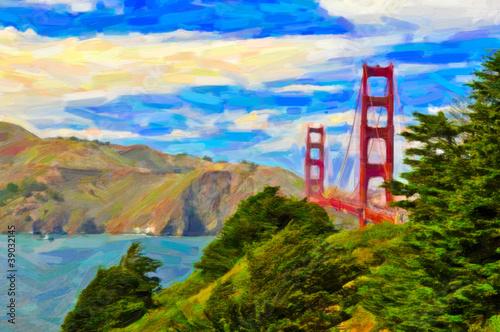 San Francisco Golden gate bridge painting art
