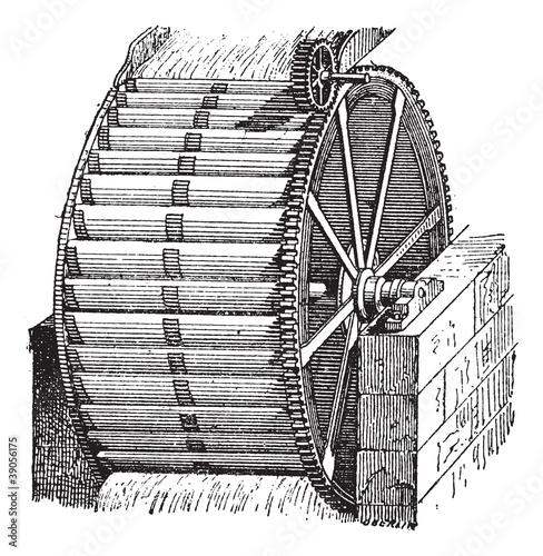 Obraz na płótnie Waterwheel bucket, vintage engraving.