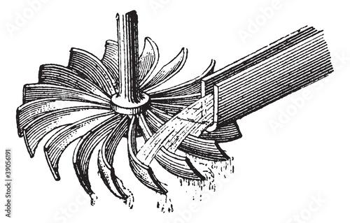 Stampa su Tela Horizontal water wheel, vintage engraving.