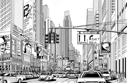 Fototapeta Ulica w Nowym Jorku rysunkowa czarno-biała