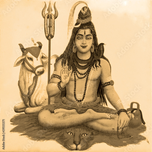 ancient image of Shiva Fototapeta