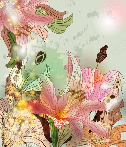 Lśniąca kompozycja kwiatów
