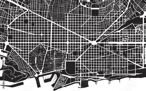 Fotografie, Obraz Barcelona black white city plan - street texture