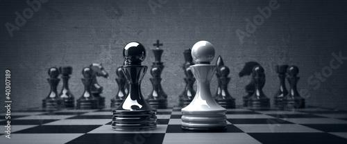 Black vs wihte chess pawn background. high resolution