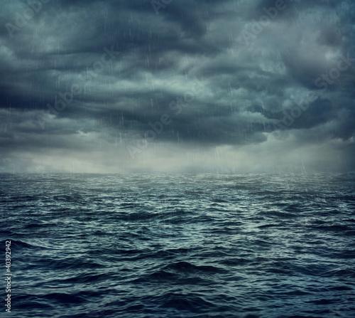 Fotografie, Obraz Rain over the stormy sea