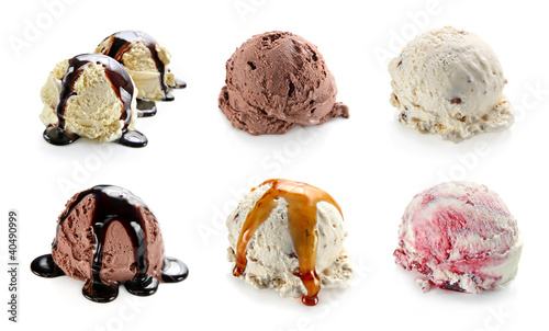 Ice cream scoops collage