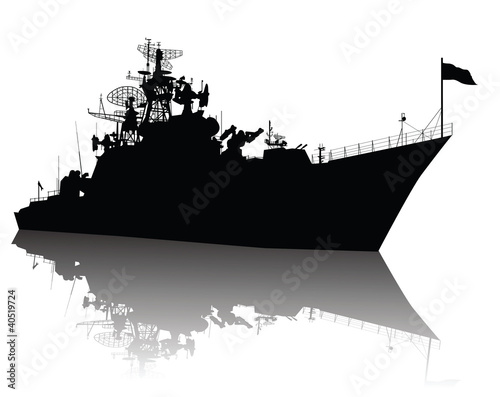 Canvas Print Soviet (russian) guided missile cruiser  silhouette