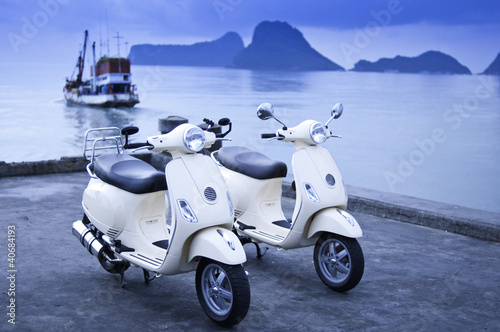 Canvas Print Motorcycles by the Sea