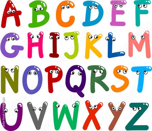 Fototapeta premium Śmieszne wielkie litery alfabetu