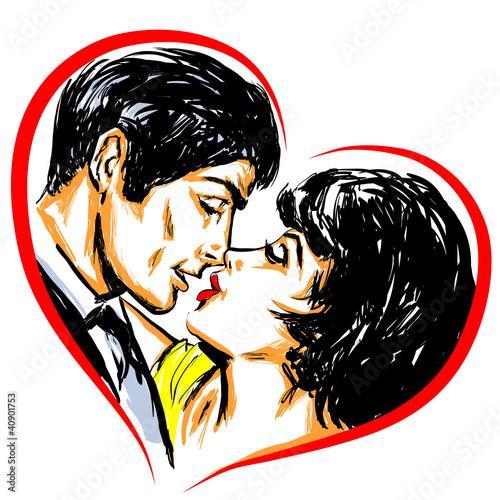 Portrait couple amoureux baiser coeur