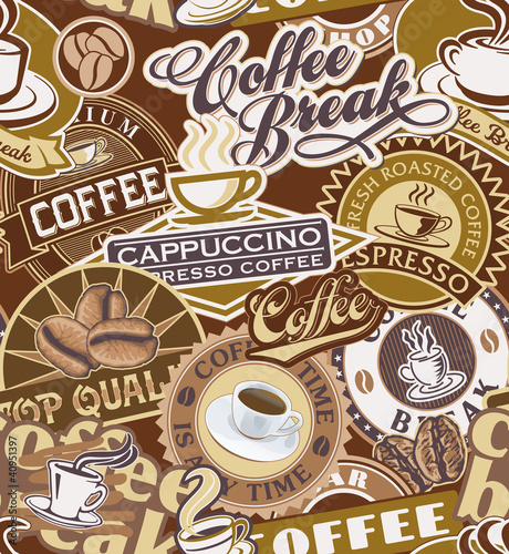 Coffee labels seamless pattern