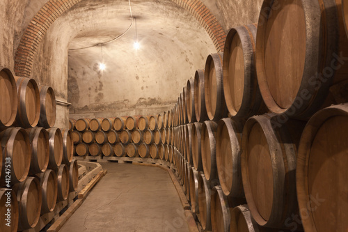 Barriles de vino en la bodega Fototapeta